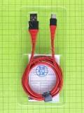 USB кабель Rock Type-C 100см 3A, красный orig-china