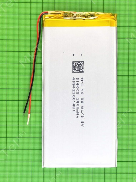 Аккумулятор 3260125 3400mAh 3.2x60x125mm, copyAA