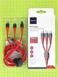 USB кабель Rock 3 в 1 Micro-USB+Type-C+Lightning 100см 3A, красный orig-china